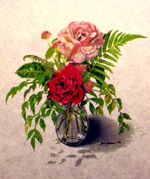 ROSES, FERN, & LANTANA: A Colored Pencil Still Life