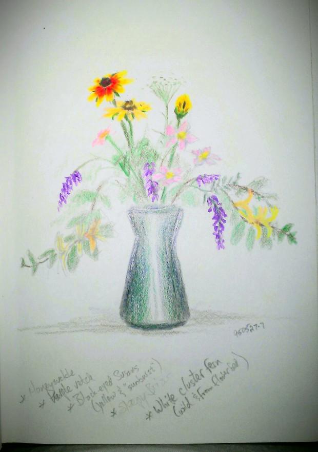 SKETCH: FLORAL STILL LIFE, Colored Pencil, 1995