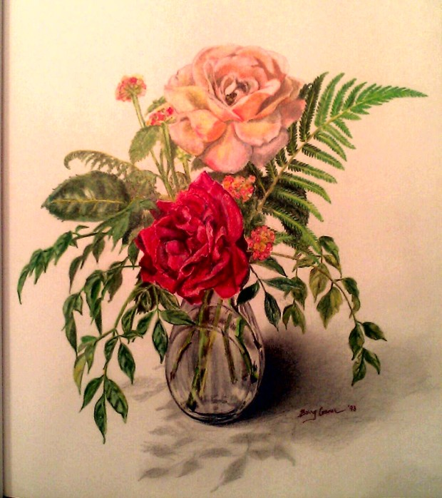 NEW PHOTO: ROSES, FERN, & LANTANA: A Colored Pencil Still Life